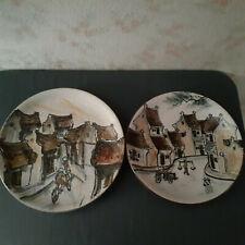 Two Wall Plates Of Oriental Village Scenes