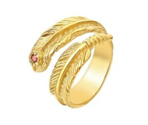 Unique Wrap Gold Feather Titanium Stainless Steel Ring For Men/ Women Size 7-11
