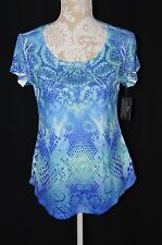 Style&Co. Womens Small Blue Paisley NEW Embellished Short Sleeve Top Shirt