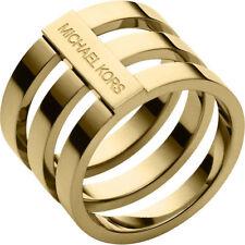 New Michael Kors Gold Tone Triple Stack Open Bar Ring MKJ40537108 Size 8