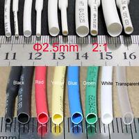 Φ2.5 Heat Shrink Shrinkable Tube Tubing Heatshrink Wire Sleeving Various Lengths