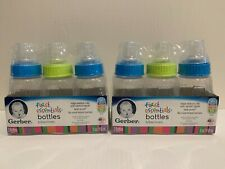 New listing Lot of 6 New Gerber First Essentials Baby Bottles 5oz Clear Silicone Nipples