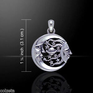 SUN MOON STARS PLANETS PENDANT .925 sterling silver by Peter Stone. Celestial