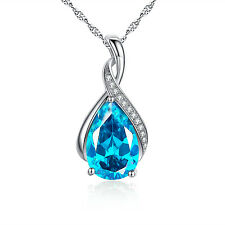 "925 Sterling Silver Pear Cut Lab Blue Topaz Gemstone Pendant Necklace 18"" Chain"