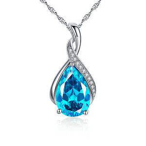 925 Sterling Silver Pear Cut Created Blue Topaz Birthstone Pendant Necklace