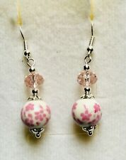 Beautiful Pretty In Pink Floral Tribute Ceramic  Crystal Drop Earrings Version 1