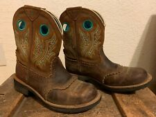 Ariat Fat Baby Boots Women's Size 7.5B - Aqua & Gold Embroidered - Western Boots