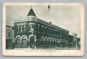 First National Bank BROOKINGS SD Antique South Dakota County Postcard (Creased)