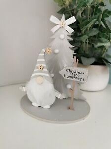 Gonk Christmas Decoration, Personalised Sign, Any Name, Grey and White Gonk