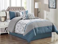 7-Pc Webley Geometric Octagon Lattice Quilted Comforter Set Blue Gray King