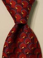 ROBERT TALBOTT Best of Class Men's Silk Necktie Luxury Geometric Red/Blue EUC