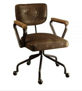 ACME Hallie Executive Office Chair In Vintage Whiskey Top Grain Leather