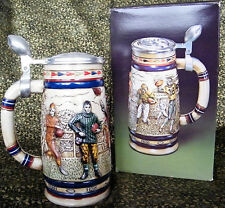 Football Ceramic with Pewter Lid Beer Stein, 1984 - Boxed