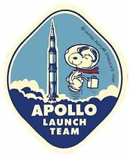 Snoopy  Apollo Space  NASA  1960's Vintage Looking Travel Sticker Decal Label