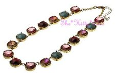 Vintage Regency Baroque Style Bright 'Gem Jewels' Gold Plated Rivière Necklace