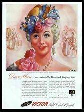 1943 Grace Moore portrait Victor Records vintage print ad