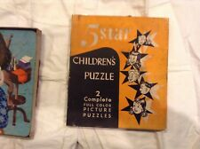 VINTAGE RARE 5 STAR CHILDREN'S PUZZLE!  2 COMPLETE FULL COLOR PICTURE PUZZLES!