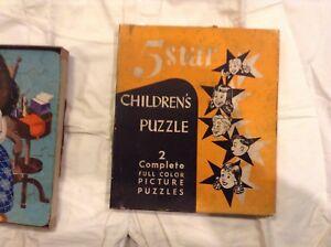 VINTAGE RARE 5 STAR CHILDREN'S PUZZLE!  2 COMPLETE FULL COLOR PICTURE PUZZLES!