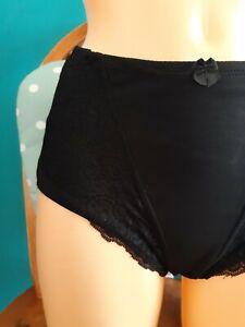 High waist control knickers Size L Cotton Rich Light Control black pretty lace