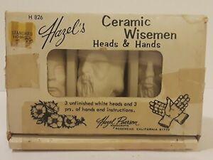 HAZEL PEARSON Craft 1 BOX of 3 CERAMIC Porcelain WISEMEN Doll HEADS (Unfinished)
