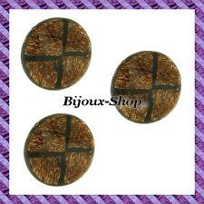 4 Perle Legno Di Cocco Modello Di Croce Nero 35mm