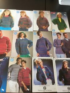 Lot 12 Vintage Sirdar Sweater Knitting Patterns Double Knit Men Women Girl Nova