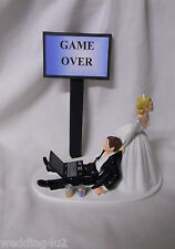 Wedding Rception Party Soda Cans Game Over Sign Laptop Computer Geek Cake Topper