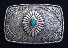 Western Cowboy/Cowgirl Rodeo Decor Engraved Antique Silver Turquoise Buckle