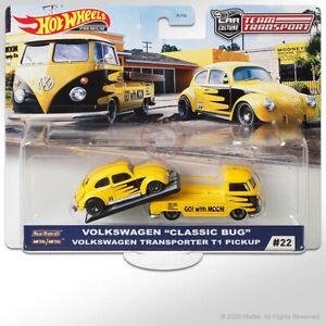 Hot Wheels TEAM TRANSPORT Mix H #22 VOLKSWAGEN CLASSIC BUG & VW T1 PICKUP