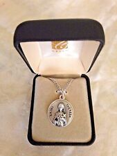 """CREED NEW """"SAINT THERESA  MEDAL""""  Stainless Silver Chain, Gift Box, SO729-50"""