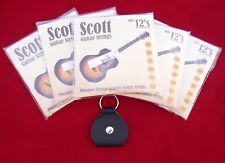 5 Paquetes conjuntos Scott Guitarra Acústica Cuerdas 12s 0.012 trabajo Lote + recogida gratuita de Llavero