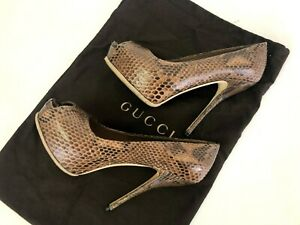 Authentic GUCCI Python Leather High Heels Sandals Shoes Size 37 / Art 252133