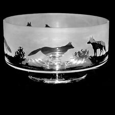 *FOX GIFT*  24cm Boxed CRYSTAL GLASS COMPORT BOWL with FOX Frieze