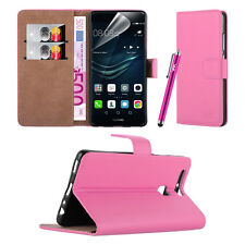 Huawei Y3- Premium Leather Slim Wallet Book Stand Case Cover Screen Protector Light Pink