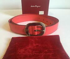 Salvatore Ferragamo Women's Belt Coral Red Leather Bucket EU 90 US 36 Authentic