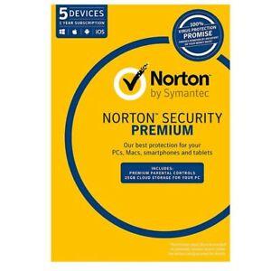 Norton Security Premium 2021 Antivirus Internet 1 Year 5 Users PC MAC Symantec