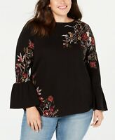 Style & Co Plus Size Cotton Jacquard Bell-Sleeve Sweater. Size: 2X