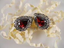 Sterling Silver, Faceted Red Pear Shape Stone Earrings