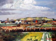 """NUOVO Originale Pete Davies Olio """"John's Farm"""" Paese Vita Rurale tela dipinto"""