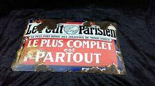 ancienne plaque émaillée bombé LE PETIT PARISIEN, loft,collection,vintage,indus