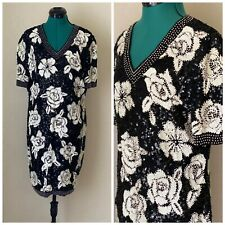 Black and white Vintage Pearl Beaded Lillie Rubin Dress Size 12