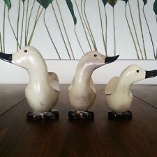 Handmade, wood, painted Balinese ducks (set of 3), decorative decor piece, new