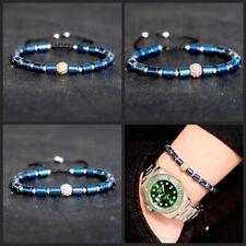 Luxury Women Men Clear Zircon Balls Blue Hematite Copper Bead Couple Bracelets