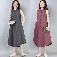 Lady Linen Sleeveless Button Down Dress Mandarin Collar Tunic Top Long Vest Chic