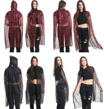 Women Adult Spider Web Hooded Cape Halloween Zombie Fancy Dress Party Red Black