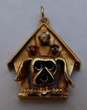 Vintage Pendant 14K Yellow Gold Ruby Sapphire Pearl Dog House w/Dog Hand Crafted