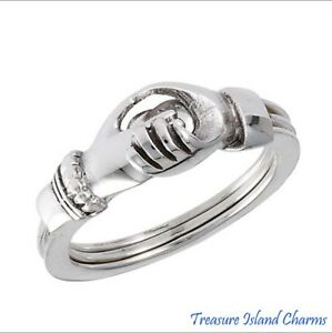Gimmel Gimmal Claddagh Hands Heart 925 Sterling Silver Ring Opens Size 5,6,7,8,9