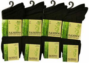 12 Pairs Men's Dark Black Luxury Bamboo Super Soft Anti Bacterial Socks 6 11