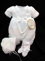 NWT Will'beth White Pink Knit Flower 3pc Romper Preemie 00 Baby Girls Bonnet