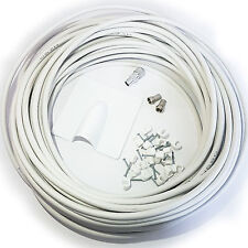 25M White RG6 Coaxial Cable Kit -For Aerial /Satellite Dish Install- TV/Freesat